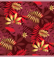 gold and red geometric tropical seamless pattern vector image vector image