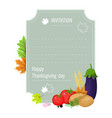 hand drawn thanksgiving greeting card with set vector image vector image