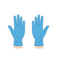 hands in medical gloves flat style vector image