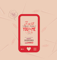 happy valentine with phone message of love vector image vector image