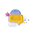 hello logo original badge with hello word and vector image vector image