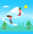 kids skiing on mountains vector image vector image