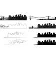 manhattan bridge silhouette city 9 vector image vector image