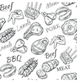 Meat Sketch Seamless Pattern vector image