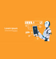 modern robot using cell smart phone futuristic vector image
