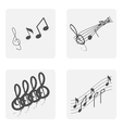 monochrome icon set with notes and treble clef vector image