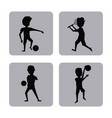 monochrome square buttons set of male silhouette vector image