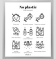 no plastic icons line pack vector image
