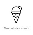 outline two balls ice cream cone icon isolated vector image vector image