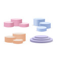 pastel colors round stands realistic 3d pedestals vector image vector image