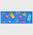 pool party scene with a lot of tiny people vector image vector image