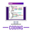 program code icon in flat style personal computer vector image vector image