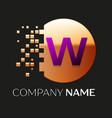 purple letter w logo symbol in golden pixel circle vector image