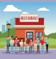 restaurant building scenery vector image vector image
