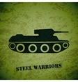 retro tank on green grunge highlight vector image vector image