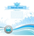 Sea travel background design in blue colors with vector image vector image