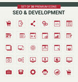 seo and developement red icons vector image