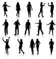 set beautiful fashion girl and men silhouette on a vector image