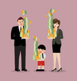 set of man woman and boy are holding a pile of vector image vector image