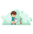small kid boy caring for nature watering plant vector image vector image