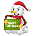 snowman with greeting card on white background vector image vector image