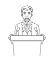 speaking puppet on tribune coloring book vector image vector image
