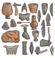 stone age primitive cave weapon and vector image vector image