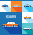 stylish car icon set modern flat design style vector image vector image