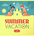 summer vacation children building sand castle on vector image
