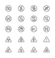 warning sign thin icons vector image vector image