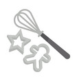 whisk and cookie shapers vector image vector image