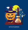 witch pumpkin conceptual design vector image