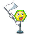 with flag traffic sign isolated on the mascot vector image