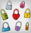 set of cute cartoon hand drawn colorful padlocks vector image