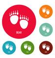 bear step icons circle set vector image