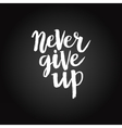 Hand drawn phrase Never give up vector image