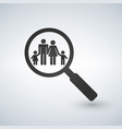 A magnifier glass with family icon