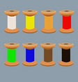 a set of coils with multi-colored threads vector image