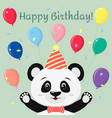 a sweet panda in a butterfly hat and tie stands vector image