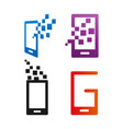 abstract mobile phone logo and icon design vector image vector image