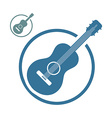 Acoustic guitar music icons isolated vector image