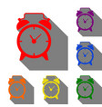 alarm clock sign set of red orange yellow vector image vector image