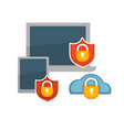 antivirus for laptops and tablets with lock and vector image