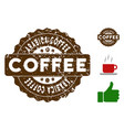 arabica coffee badge stamp with grungy style vector image