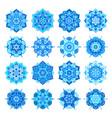 blue snowflake flower mandalas vector image vector image