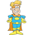 Cartoon boy wearing a superhero costume vector image vector image