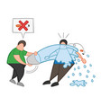 cartoon man throw water with bucket to smoker and vector image vector image