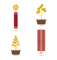 Chinese New Year Fire Crackers and Coins Tr vector image