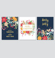 christmas and new year gift cards collection vector image vector image