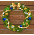 Christmas Wreath on Wooden Board 6 vector image vector image